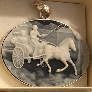 Jewelry - Sterling silver Italian cameo onyx pendant